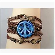 bricolaje infinito signo de la paz joya pulsera urdimbre de cuero marrón (1 unidad)
