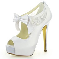 Women's Summer Heels / Peep Toe / Platform Satin / Lace Wedding Stiletto Heel Satin Flower / Zipper Ivory / White / Champagne
