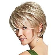 mulheres castanho médio senhora reta perucas de cabelo curto sintéticos