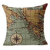 Cotton/Linen Pillow Cover , Map Modern/Contemporary