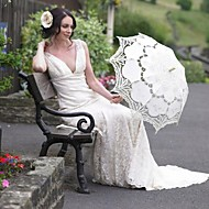 "30"" Beige Vintage Craft Fashional Embroidered Lace Parasol Sun Umbrella Wedding Bridal Bridesmaid Accessaries"