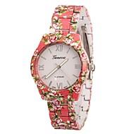 Mulan Women's Flower Print Alloy Band Quartz Wrist Watch