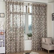 Dois Painéis Neoclassicismo / Europeu Folha Dourado Quarto Poliéster Sheer Curtains Shades