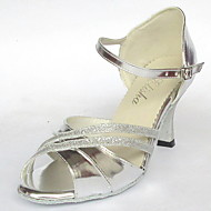 Customized Classic Women's Silver Leatherette And Glitter upper Salsa Latin Dance Shoe