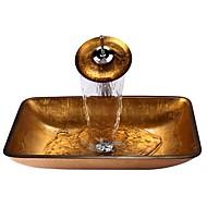 gouden rechthoekige gehard glazen vat zinken met waterval kraan, pop - up afvoer en montage ring