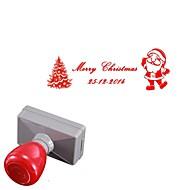személyre szabott 33x63mm karácsonyi mikulás fa stílus 2 soros téglalapot vésett fényérzékeny pecsétgyűrű pecsét (14 betű)