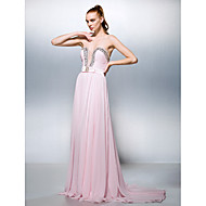 Formal Evening Dress - Blushing Pink Plus Sizes / Petite A-line / Princess Sweetheart Court Train Georgette