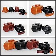 pajiatu® custodia protettiva pu olio di cuoio fotocamera pelle retrò per EM10 Olympus OM-D E-M10 con obiettivo 14-42mm