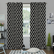 Two Panels Designer Geometric As Per Picture Bedroom Polyester Panel Curtains Drapes