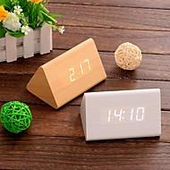 tempo de calendário termômetro digital de controle de som levou despertador de madeira (branco&caqui&preto, 3 * AAA)