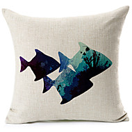 Blue Fish Pattern Cotton/Linen Decorative Pillow Cover