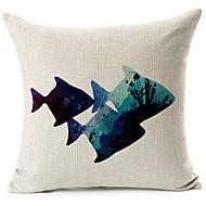 Blue Fish vzor bavlna / len dekorativní polštář kryt