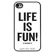 gepersonaliseerde telefoon geval - het leven is leuk ontwerp metalen behuizing voor de iPhone 4 / 4s