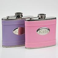 persoonlijk cadeau roze / paars leder 5 oz curve fles