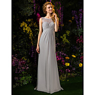 Lanting Sweep/Brush Train Lace / Georgette Bridesmaid Dress - Silver Plus Sizes / Petite A-line Jewel