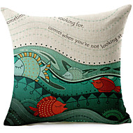 Cartoon Fish Pattern Cotton/Linen Decorative Pillow Cover