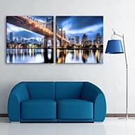 e-Home® allungato portato tela ponte stampe d'arte e città costruzione effetto flash LED set di 2