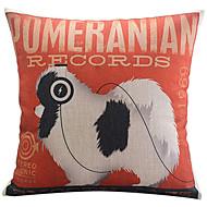pomeranian motif de chien coton / lin taie d'oreiller décoratif