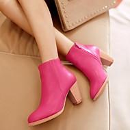 Chaussures Femme - Habillé - Noir / Rose / Beige - Gros Talon - Bout Arrondi / Bottes à la Mode - Bottes - Cuir