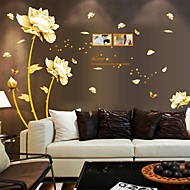 Wall Stickers Wall Decals, Chinese Style Flowers of Wealth PVC Wall Stickers
