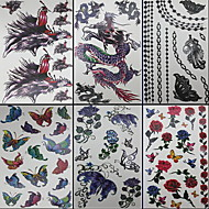 6 개 나비와 용 혼합 임시 문신