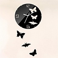 "18""H Modern Style Black Butterfly Home decoration 3D DIY Acrylic Mirror Wall Clock"