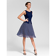 Cocktail Party Dress - Dark Navy A-line Bateau Knee-length Polyester