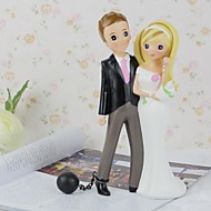 Cake Toppers Doll Lovers with Flower Furnishing Articles