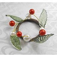 červené vánoční ovoce pearl prsten ubrousku Vánoce, akryl, 1.77inch, sada 12