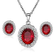 סט תכשיטים סגנון מינימליסטי קריסטל זירקון זירקוניה מעוקבת אדום כחול שרשראות עגילים ל חתונה Party קזו'אל מתנות חתונה