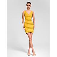 Cocktail Party Dress - Gold Sheath/Column V-neck Knee-length Polyester