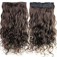 24 אינץ '120g קליפ ארוך האפל חום חום עמיד סיבים סינטטיים מתולתל בתוספות שיער עם 5 קליפים