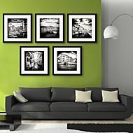 e-Home® inramade arbetsytan konst, stads kanalen inramade kanfastryck uppsättning av 5