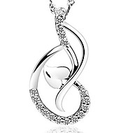 925 Silver Love Dance Hear Pendant Chain Necklace With Cubic Zirconia