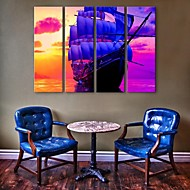 E-HOME® Stretched Canvas Art A Ship At Sea Decorative Painting  Set of 4