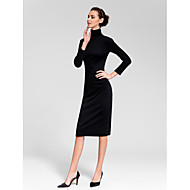 Homecoming Cocktail Party Dress - Black Sheath/Column High Neck Tea-length Cotton