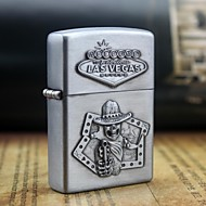 Personalized Engrave Skull Pattern Metal Oil Lighter