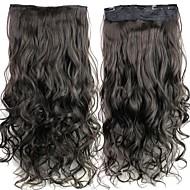 24 polegadas 120g longa de fibra sintética clipe encaracolado castanho calor preto resistente em extensões de cabelo com 5 clips