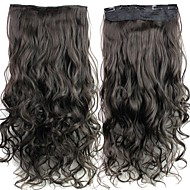 24 tommers 120g lang brunsvart varmebestandig syntetisk fiber krøllete klippet i hair extensions med 5 klipp