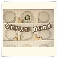 """Wedding Décor """" GUEST BOOK"""" Bunting Shabby Chic Rustic Banner Garlands"""