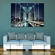 E-HOME® Stretched LED Canvas Print Art Bridge Flash effect LED