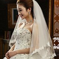 Wedding Veil Two-tier Fingertip Veils Lace Applique Edge 31.5 in (80cm) Tulle / Lace