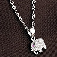 925 Men's Silver Elephant Pendant Chain Necklace With Cubic Zirconia