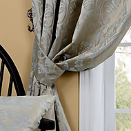 Room Darkening Jacquard Damascus Flowers Curtain Two Panel