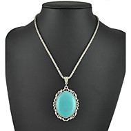 2015 New Arrival Beautiful Oval Turquoise Necklaces Pendants Fashion Women Sweater Chain Necklaces