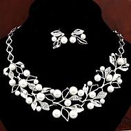 europeisk stil mote metall rhinestone perle løvverk kjede øredobber set-sett med 2