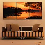 e-home® rozciągnięty Płótno zmierzchu jezioro dekoracji malarskiej zestaw z 3