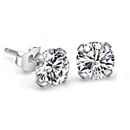 Stud Earrings Crystal Imitation Diamond Sterling Silver Rhinestone White Screen Color Jewelry Wedding Party 2pcs