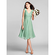 Lanting Knee-length Chiffon Bridesmaid Dress - Sage Plus Sizes / Petite A-line V-neck