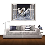 3D samolepky na zeď na stěnu, létající bílý kůň dekor vinylové samolepky na zeď